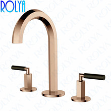 Rolya New Luxurious Rose Golden Bathroom Sink Faucet 3 Holes Deck Mounted 8 inch Widespread Basin Faucet Mixer Taps стоимость