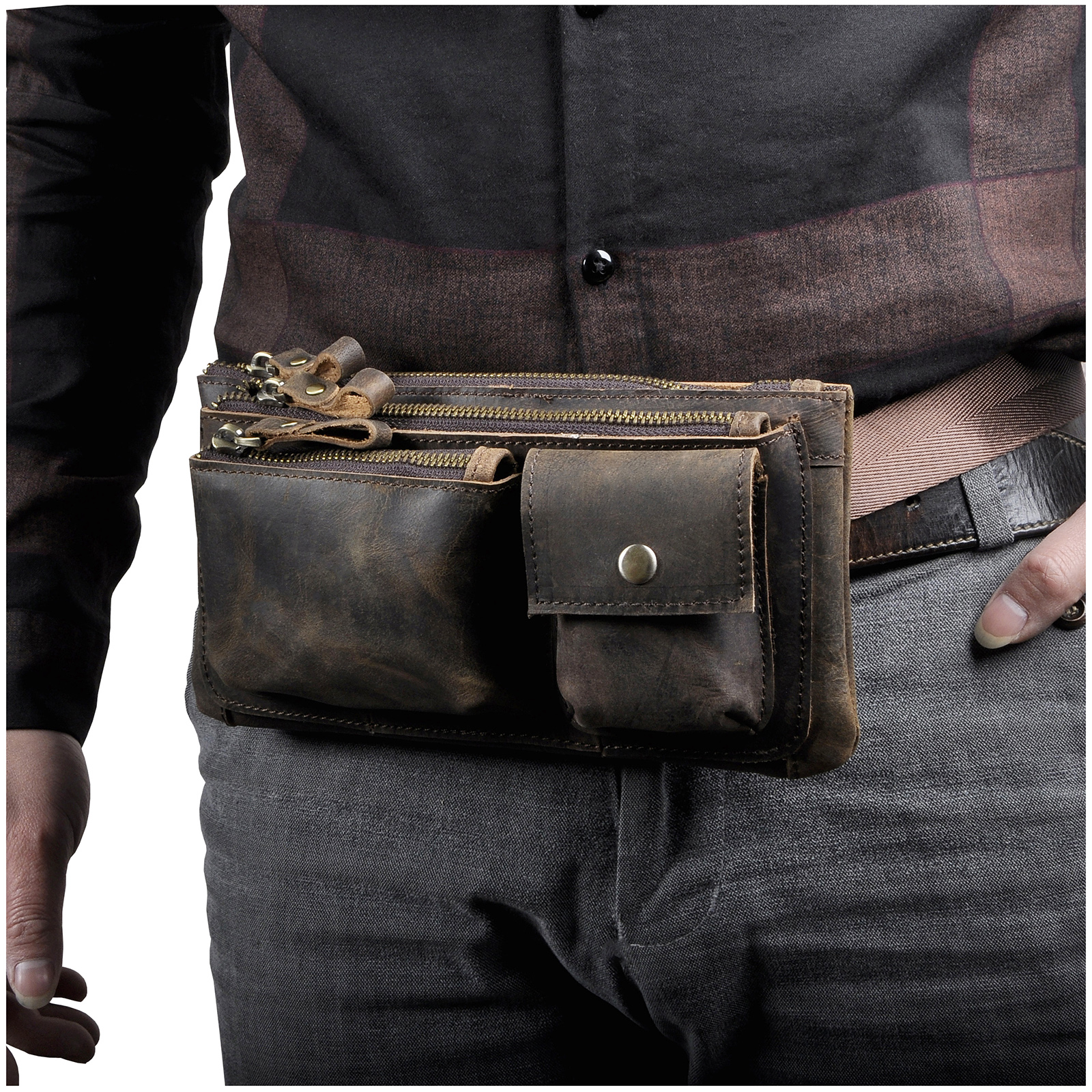 Fashion Original Leather Unisex Crossbody Sling Bag Design Casual Travel Cigarette Case Pouch Fanny Waist Belt Bag Pack 811-29-d