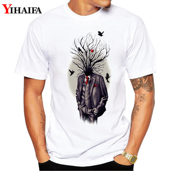 Men T Shirt Graphic Tee Personality Design Tree Bird Gym Print Short Sleeve T-Shirts Casual White Tops casual glasses print tee in white