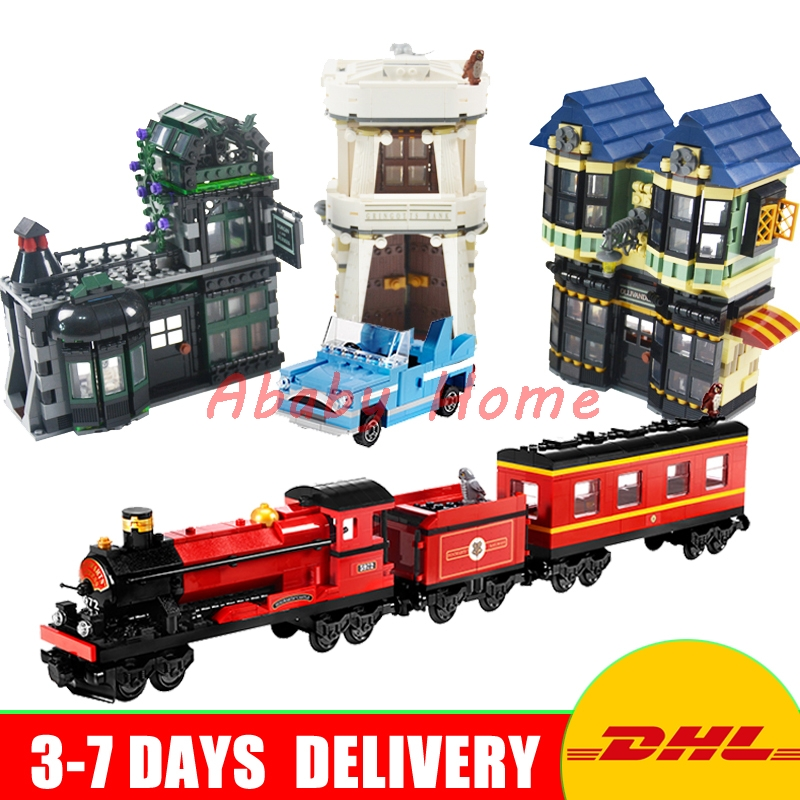 DHL Lepin Movie Series 16012 Diagon Alley+ 16031 Hogwarts Express Educational Building Blocks Bricks Model Toys Gifts 10217 4841 doinbby store  16012 2075pcs movie