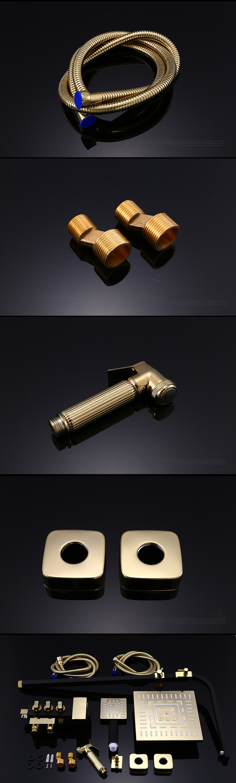 Rainfall Shower Faucet Golden Black Bathroom Shower Set With Bidet Sprayer Mixer Tap Wall Mount Shower Hot Cold Water Tap