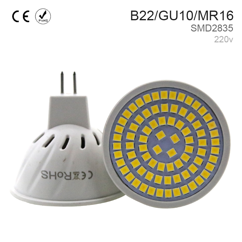 5PCS Free shipping GU10 Led Lamp GU5.3 MR16 Ampoule Led E27 Light Bulb B22 Spotlight Bulb E14 Led 220V 5W 7W 9W 48 60 80leds