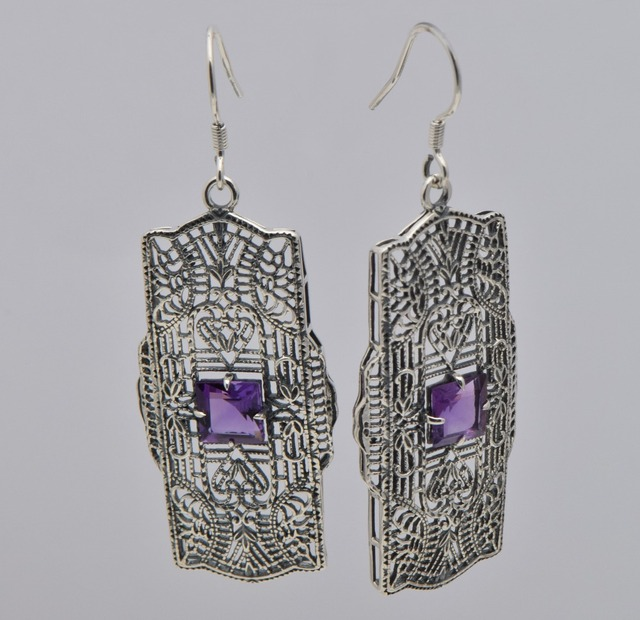 214e7007f European fashion personality The ancient silver 925 sterling silver  amethyst earrings natural hollow-out decorative