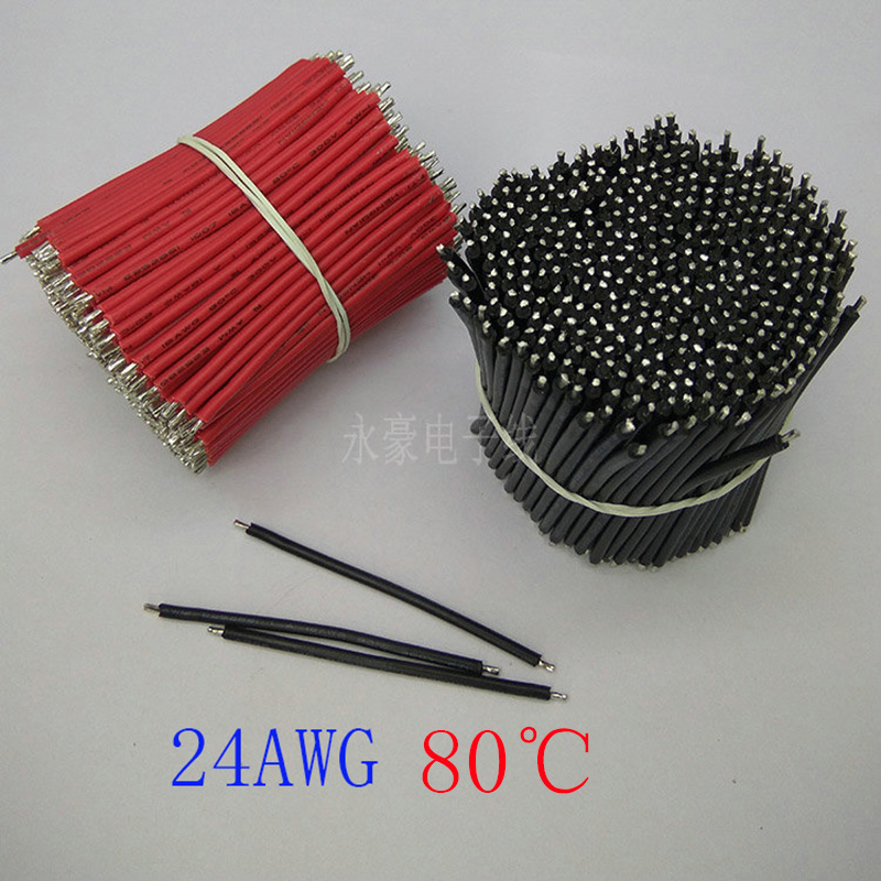 1000/PCS,150mm electronic components, 80degree 24AWG black and red tin electronic cable, DIY panel cable, free shipping