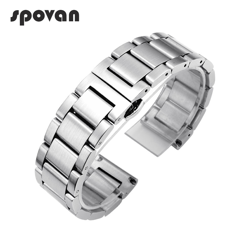 SPOVAN 22mm 24mm Matte Stainless Steel Watch Bands Strap for Sports Watch Solid Three Beads Watchbands Black/Silvery SPV07 spovan sc black