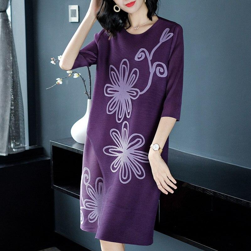 purple 4 45 Fleurs De Femmes dark Robe Taille Vintage Miyake 3 La Pour Plus Plis Lâche Cou Disque Mode 75 Poids Casual O Manches Blue gray Kg Black 6rw67pqR