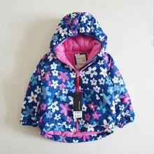 女の子の冬厚み花のコート防風ジャケット冬の子供たちは上着トレンチ暖かいフリース女の子のため