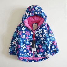 Abrigo de invierno para niñas, abrigo grueso de flores para niñas, chaqueta a prueba de viento, gabardina, ropa de abrigo, forro polar cálido para niñas