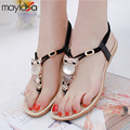 Женщины сандалии 2016 мода комфорт сандалии женщин Лето Классический Горный Хрусталь плоским пляж вьетнамки сандалии плюс размер 35-42