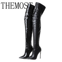 THEMOST Sexy fashion ladies high heeled shoes boots 12 cm luxury shoes boots boots lady pointed knee