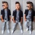 2015 Новый Горячий продажа Мода мальчиков 3 шт. комплектов одежды Набор Мальчик черные одежды + клетчатые рубашки + джинсы брюки детская одежда
