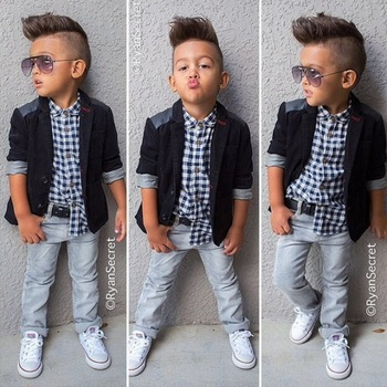 2015 New Hot sale Fashion baby boys 3pcs clothing sets Set Boy black outerwear +plaid shirt+ jeans trousers children clothing