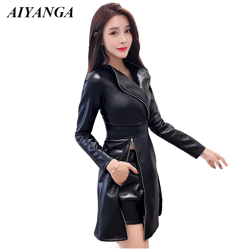 PU Women Sets 2018 Autumn Winter 2 Pieces Female Faux Leather Tops And PU Shorts Fashion Biker Slim Ladies Tracksuit Black