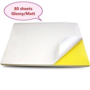 Image 1 - A4 Sticker Paper Label Sheets  for inkjet / Laser Printer /Copier, Matt/Gloss kraft Surface, 80 Sheets Per Pack