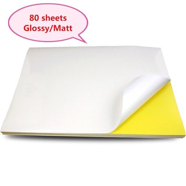 A4 Sticker Paper Label Sheets  for inkjet / Laser Printer /Copier, Matt/Gloss kraft Surface, 80 Sheets Per Pack