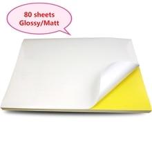 A4 naklejki papier arkusze etykiet do drukarek atramentowych/drukarka laserowa/kopiarki, matowy/połysk kraft powierzchni, 80 arkuszy w opakowaniu