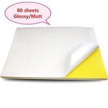 Folhas de papel da etiqueta a4 para a impressora do inkjet/laser/copiadora, superfície de kraft mate/gloss, 80 folhas pelo bloco