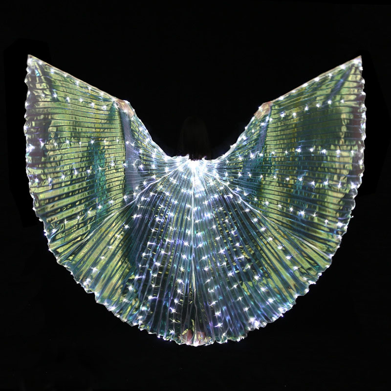 Girls Glowing White LED Light Belly Dance Wings Butterfly Dancer Costumes for Kid Oriental Indian Bellydance Dancing Accessories