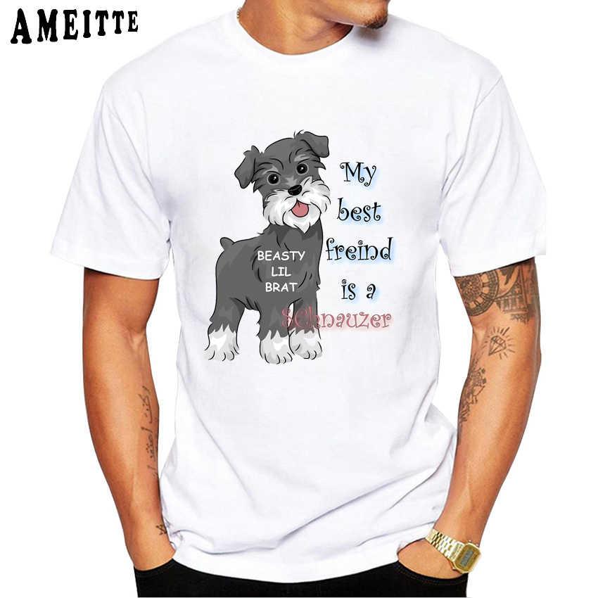 Футболка с принтом My Best Friend Schnauzer модная повседневная мужская футболка для фитнеса для мальчиков летняя одежда для любителей собак в стиле хип-хоп