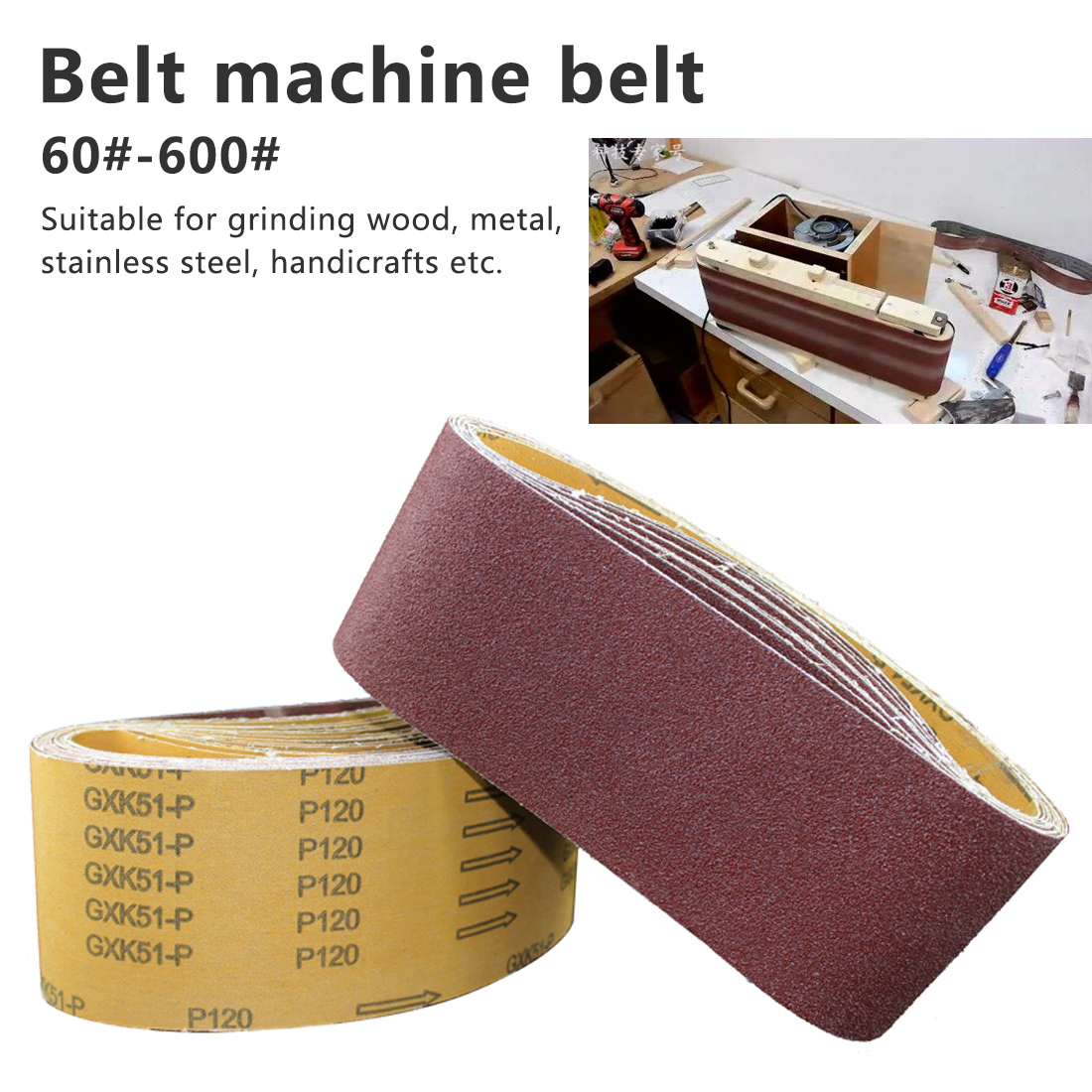 P60 - P600  915*100mm Wood Soft Metal Grinding Polishing Sanding Belts Abrasive Sanding Screen Band  1 Pieces