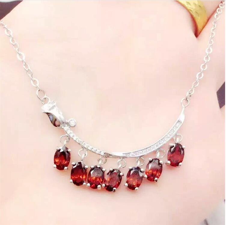 Free shipping Natural garnet necklace pendant Real origin red garnet 925 sterling silver Fine jewelry 4*6mm 7pcs 2 3mm red natural agate necklace multi layers 925 sterling silver with real pearl fine womne jewelry wedding party necklace