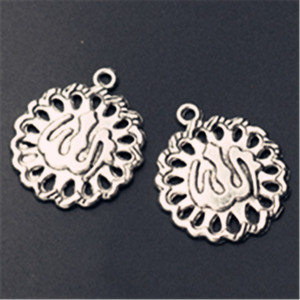 Image 1 - WKOUD 10pcs כסף צבע האסלאמי אללה סמל עגול טבליות סגסוגת תליון עגיל צמיד DIY תכשיטי קסם תכונות A830
