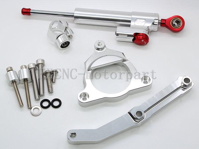 FXCNC Motorcycle Adjustable Steering Damper Stabilizer+Bracket Mounting Kits Fit For KAWASAKI Z8002013-2015 Sliver&Red