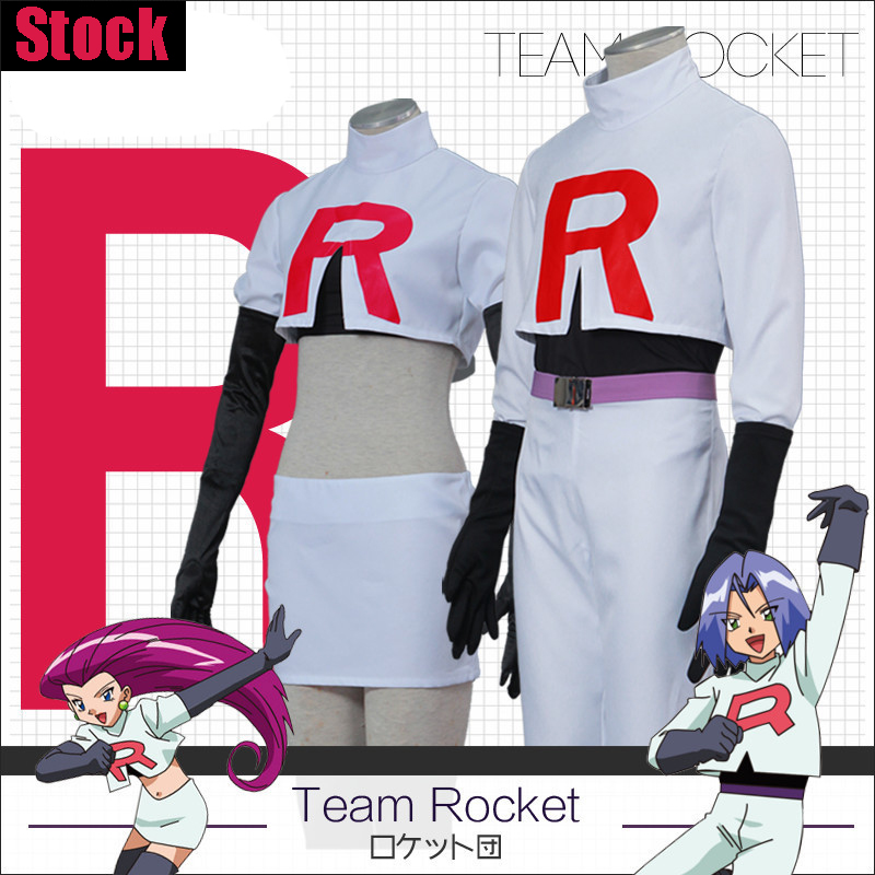 [Stock] Game Anime Pokemon Go!Team Rocket Jessie Musashi James Kojirou cosplay costume S-XXL Full set Hot New 2017 сумка jessie