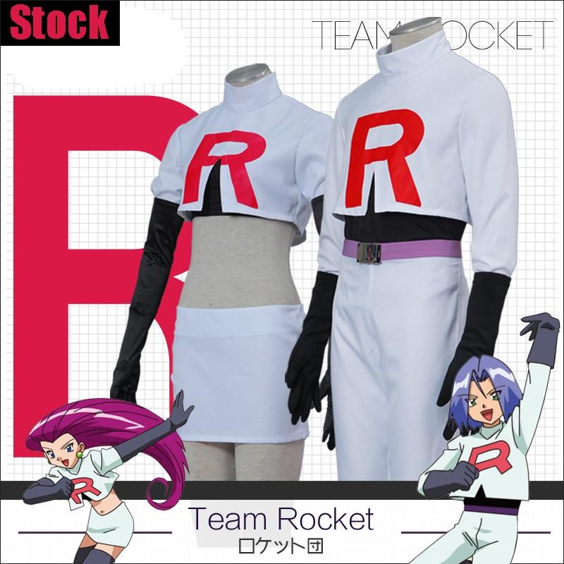 [Stock] Game Anime Pokemon Go!Team Rocket Jessie Musashi James Kojirou cosplay costume S-XXL Full set Hot New 2017