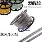 220VAC Светодиодная лента 2835 100 светодиодов/м IP67 водонепроницаемая с адаптером питания гибкая светодиодная лента наружная 50 м/рулоны, 100 м/руло... - 1