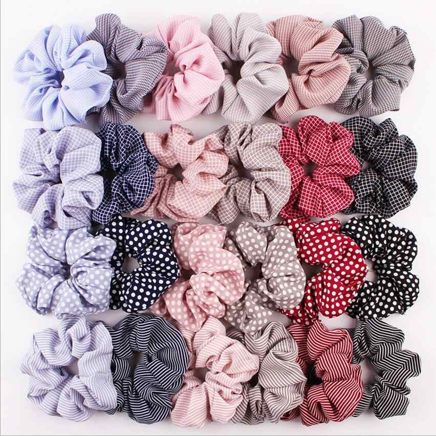 Fresh And Stylish Striped Scrunchie Elastic Hair Rope For Women Simple Generous Home Hair Elastic Bands Girls Hair Accessories