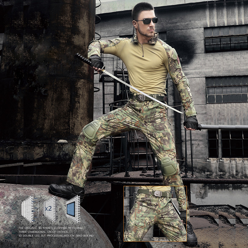 Mens Hunting Camouflage Pants Clothes Army Military Tactical Pants Trousers Hunter Camping Climbing Hiking Pants with Knee Pads men s pants casual apparel gym clothing trousers mens outdoor hiking pants military camouflage mens pant combat tactical pants