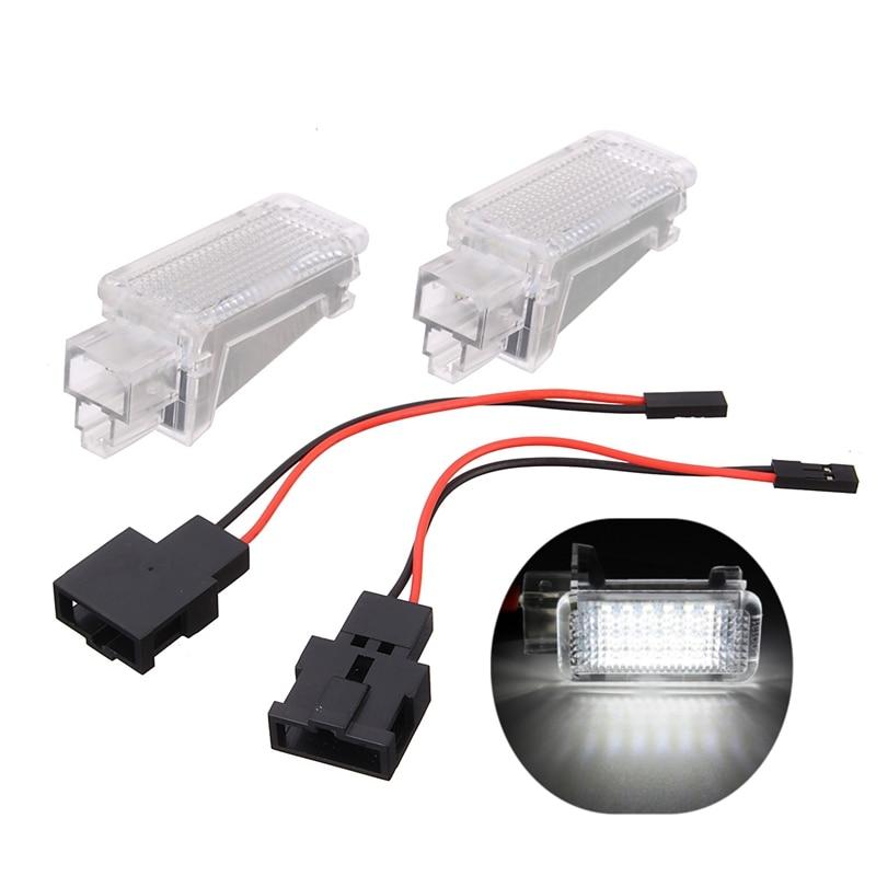 2Pcs 12V Car LED Courtesy Door Projector Light For Audi A3/A4/A6/VW/Skoda Foot Nest Lights Ghost Shadow Light Lamp 6500K White