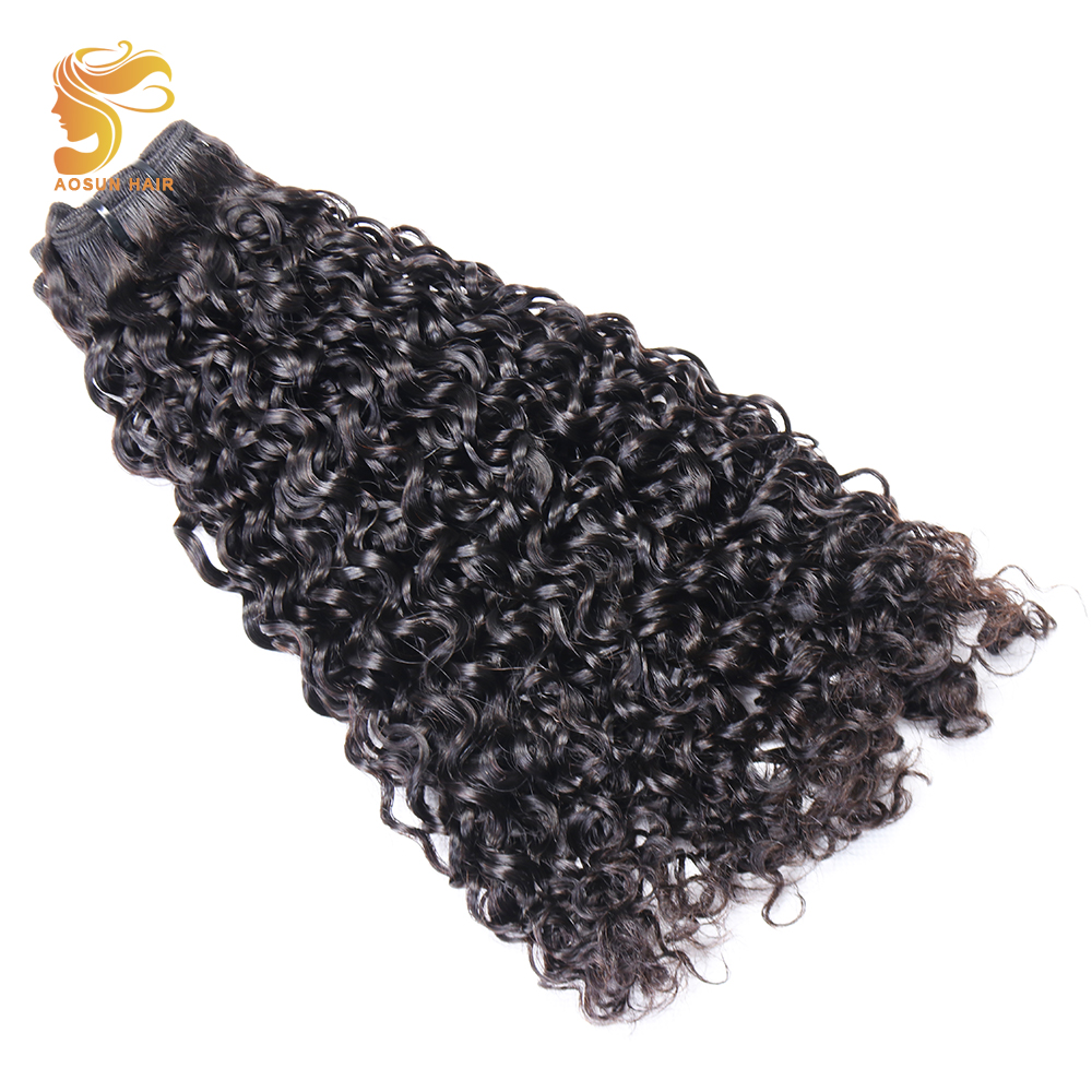 AOSUN HAIR Brazilian Double Drawn Fumi Hair Kinky Curly 10 20 Inches 100% Remy Human Hair Extensions 1 Piece Only Natural Color