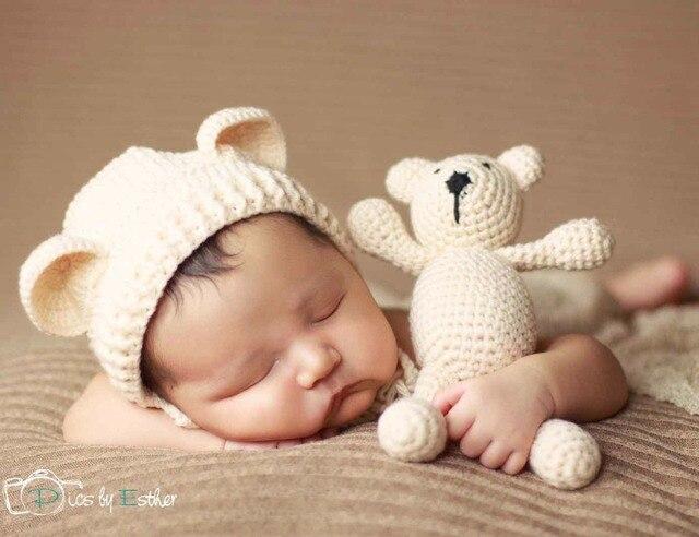 Вязание крючком ребенка шляпу медведь ручной новорожденный фотографии реквизит ребенка cap шапочка, infantil fotografia аксессуары, # p0254