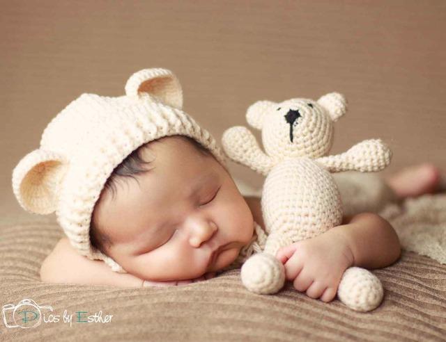 Urso chapéu do bebê de crochê artesanal adereços fotografia de recém-nascidos do bebê cap beanie, infantil fotografia acessórios, # p0254
