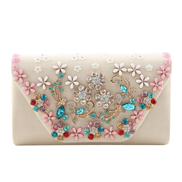 New fashion women rhinestone shoulder diagonal handbags handmade pearl flowers embroidered handbags bride holding folding bag