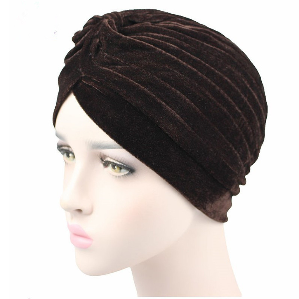 FeiTong Women Fashion Solid Velvet Scarf Head Cap India Muslim Hat Chemo Cap   Skullies     Beanies   Hats high quality Accessories