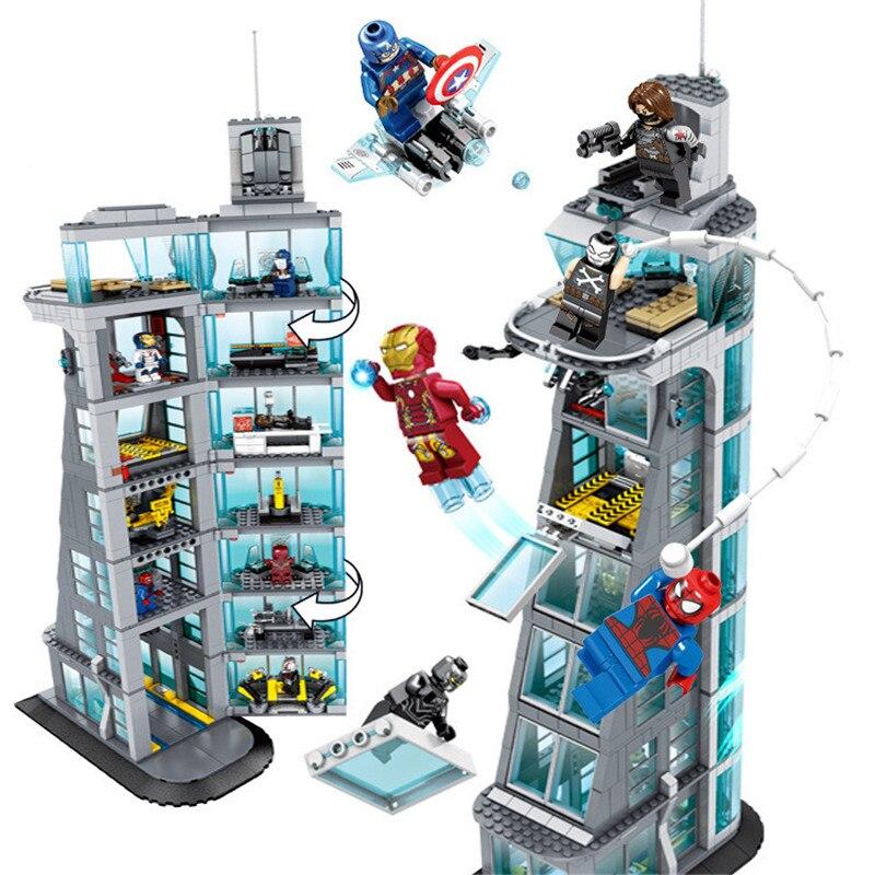 7th Étage Du Bâtiment Super-Héros Ironman Marvel Avenger Tour Fit Legoings Avengers Cadeau Building Block Briques Jouet Éducatif