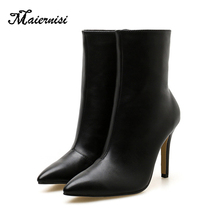 MAIERNISI New Autumn Winter Women Boots Heels Warm Plush PU Leather Boots High Quality Knee High Boots Plus Size Sexy Boots