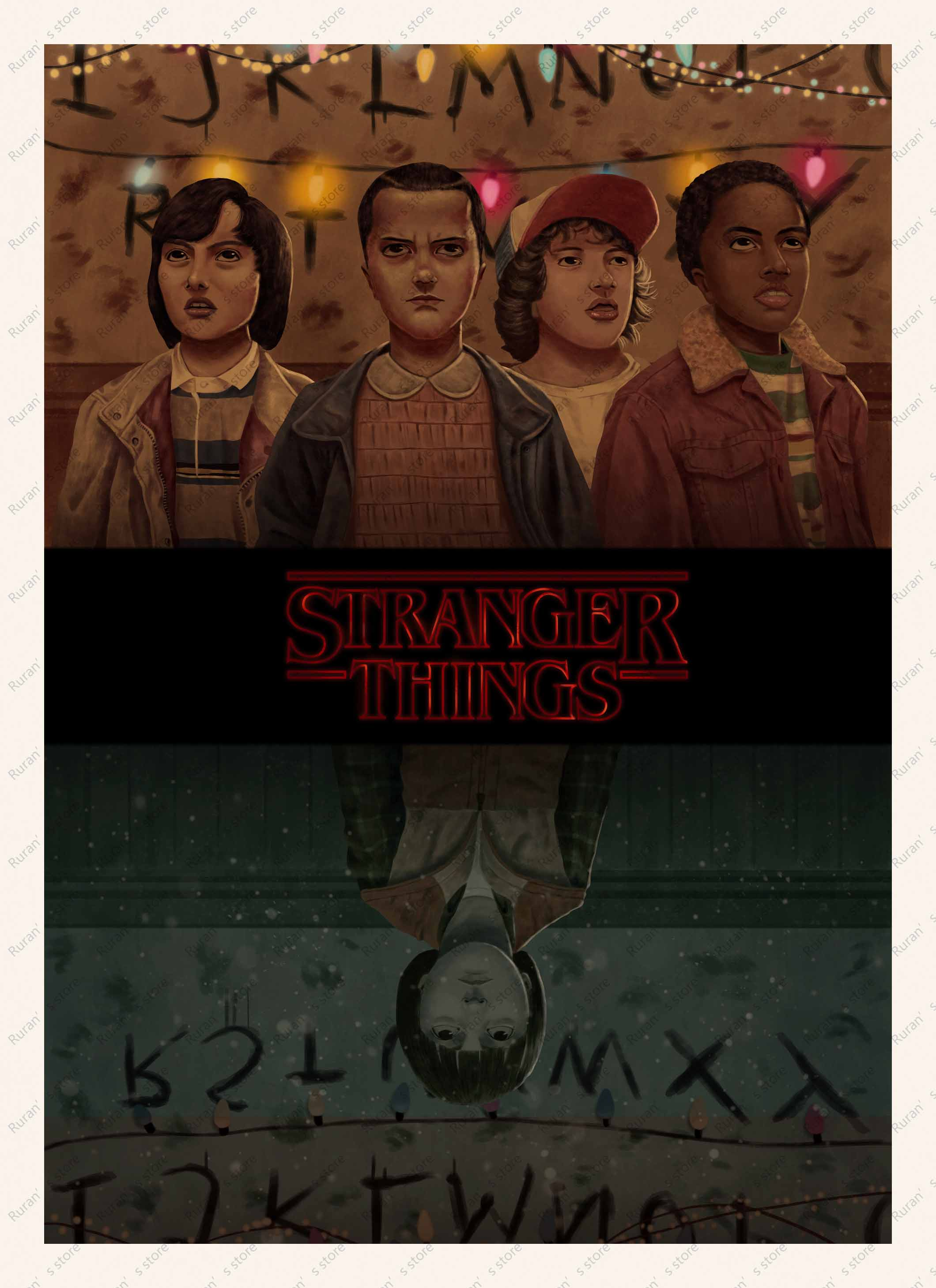 Sci Fi Thriller Tv Play Stranger Things Kraft Paper Poster Cafe
