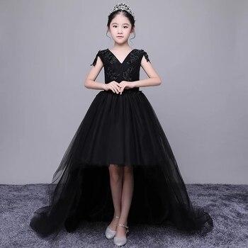 Vestido Negro De Lujo Largo De Flores De Cola Vestido De