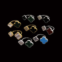 Beautiful Clover Flower Ring Middle East Sells Lady Gift Copper Inlay Shell Multicolor Natural Stone Size