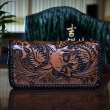 OLG.YAT Vegetable tanned leather men wallets Skull handmade wallet men purse long zipper bag Cowhide Hand-carved mens handbags