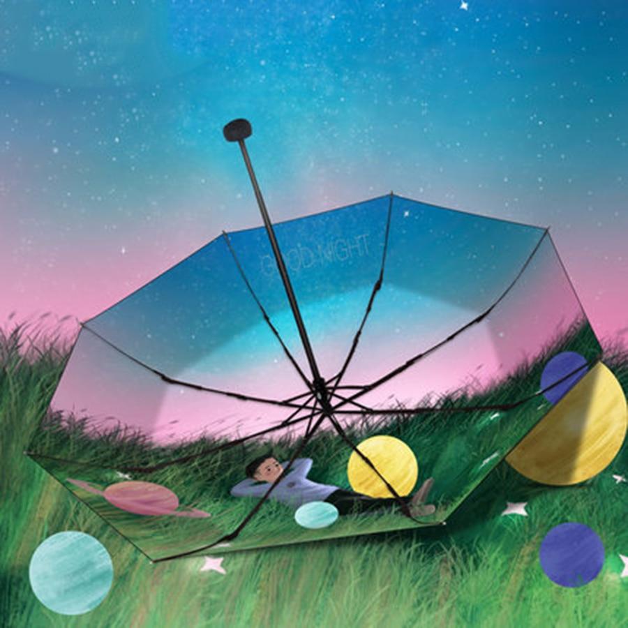 Parapluie de pluie pliant soleil femmes UV fille changement de couleur nouveauté articles parapluies magiques mâle enfants peinture Parasol cadeaux 40S188 - 6