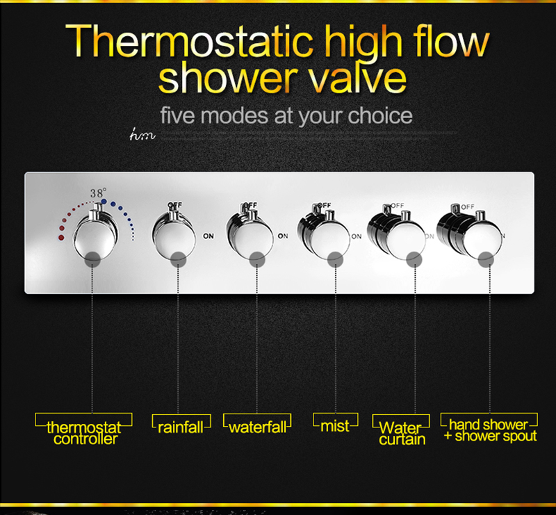 Luxury Led Rain Shower Head Large Rain LED Shower Set with Waterfall Shower Head with Embedded Ceiling 600x800 Rainfall Spout (21)