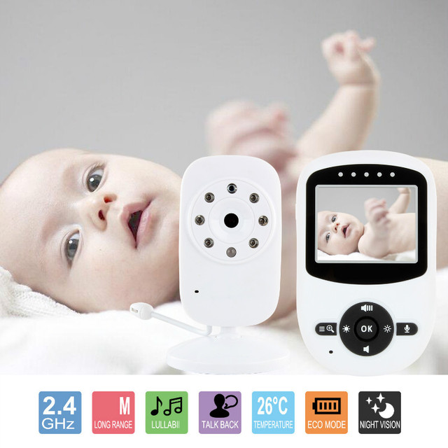 "2.4"" Wireless Digital Baby Monitor LCD Two Way Talk 360 Degrees Night Vision Audio Video Security Camera Music Temperature"