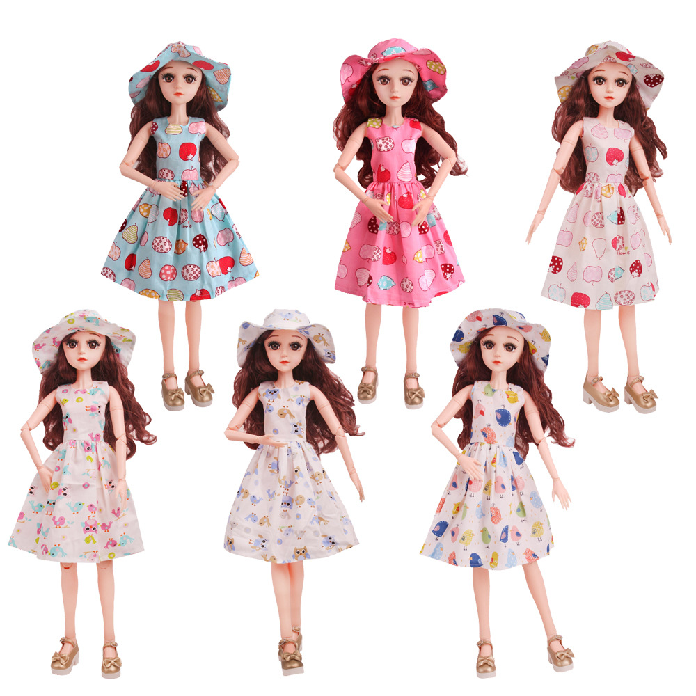 1pc New Summer Dress Clothes for Doll Accessories 60cm BJD Dolls Clothes Fashion Long Dress with Hat Accessories Toys for Girls in Dolls Accessories from Toys Hobbies