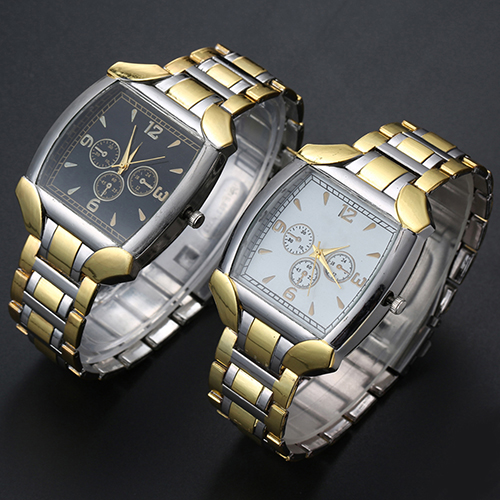 2016 New Men's Stainless Steel Band Golden Silver Tone Analog Quartz Business Wrist Watch G6TN C2K5W mike 326 men s business casual analog quartz wrist watch w calendar golden silver