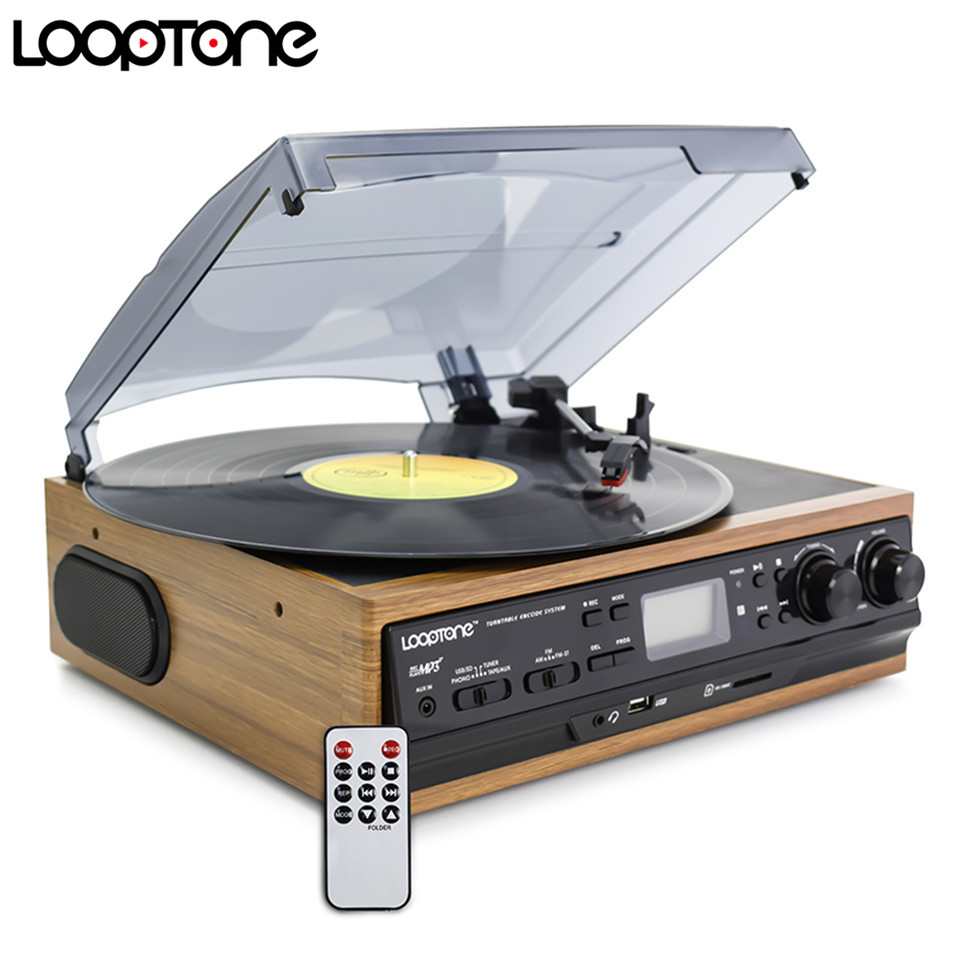 LoopTone USB Turntable Vinyl Record Player W/ Remote Control 2 Built-in Speakers Turntables W/ AM/FM Radio Cassette LP Recording